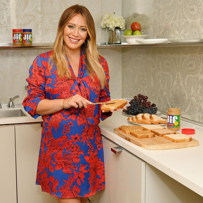 Hilary Duff couldn't resist making some peanut butter sandwiches as she was on hand to announce the Imagine If, With Jif contest kick off in NYC. 