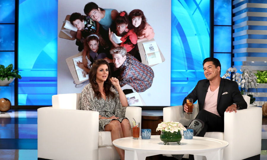 Mario Lopez had a special guest when filling in for Ellen DeGeneres. The <i>Extra</i> host was joined by former <i>Saved by the Bell</i> co-star Tiffani Thiessen where she discussed her new cookbook <i>Pull Up a Chair: Recipes from My Family to Yours</i> and took a stroll down memory lane.