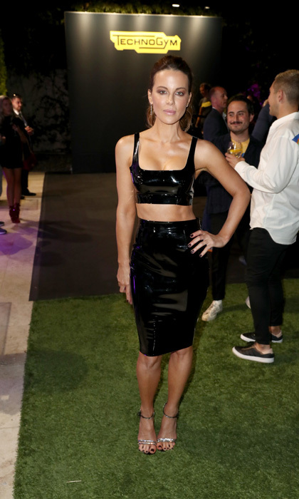 Kate Beckinsale showed off her toned figure at the launch of the new Rolls Royce Cullinan SUV and Technogym's Home Wellness Design at celebrity trainer Gunnar Peterson's home in Beverly Hills.