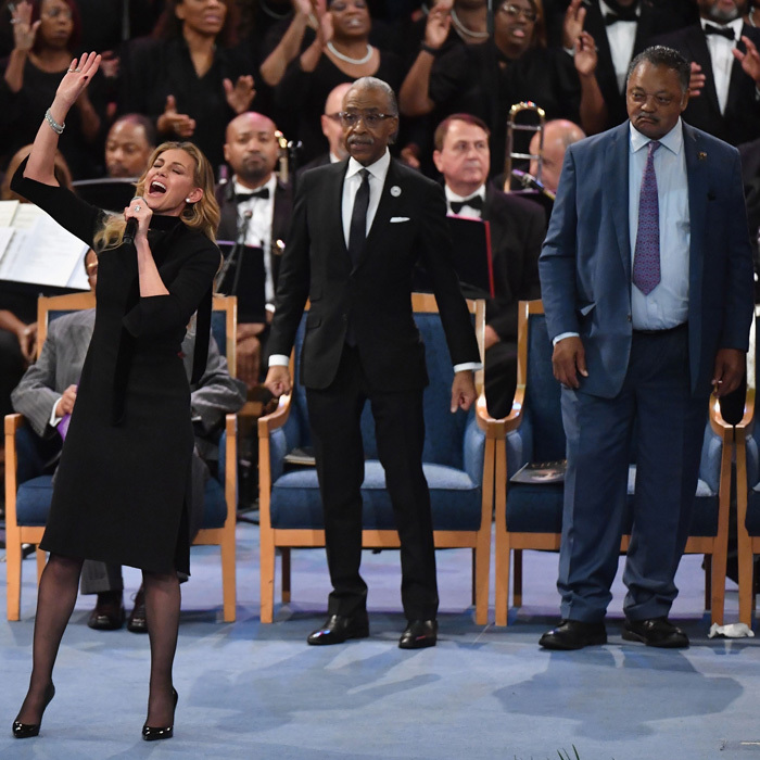 Faith Hill joined the many mourners including Reverend Al Sharpton and Reverend Jesse Jackson in Detroit for Aretha Franklin's funeral service. The singer performed <i>What a Friend We Have in Jesus</i> at the Greater Grace Temple. 
