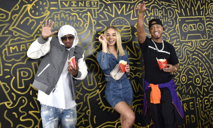 Ba da da da da... They're lovin' it! Celebrities like Nick Cannon, Jasmine Sanders, and Terrence J had fun striking a pose with the Golden Arches in front of the McDonald's commissioned mural by artist Timothy Goodman at the Made In America festival in Philadelphia. The trio snacked on fries and mingled with employees.