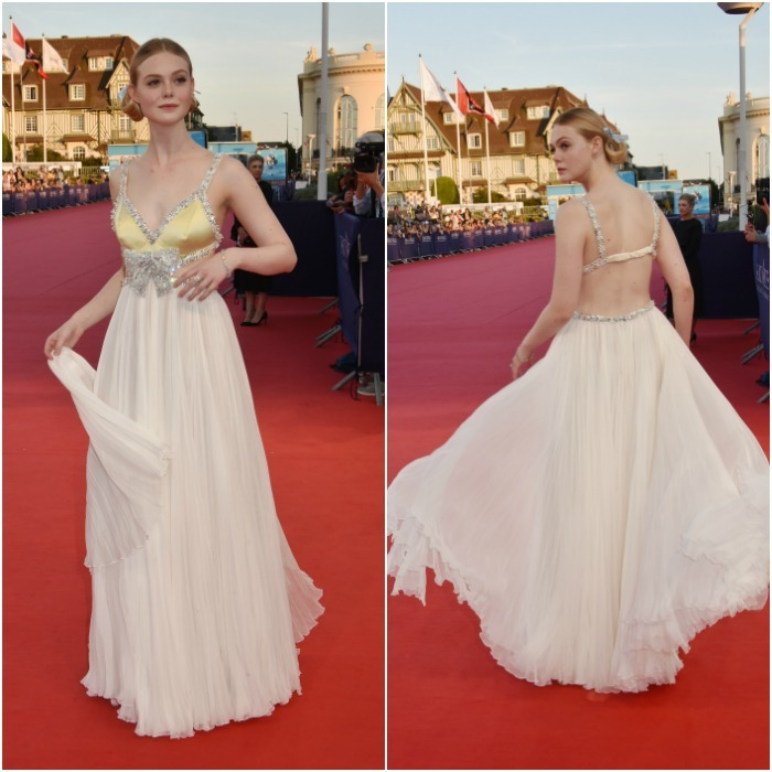 Take a twirl! Elle Fanning looked as though she came straight off a horse and carriage as she waltzed down the red carpet at the 2018 Deauville American Film Festival on Saturday, September 2. Drenched in a custom gossamer gown by Miu Miu, the actress wore the diamond-studded dress with the elegance and demure of a royal. She paired the shimmering look with pricey Tiffany and Co. jewels: an 18k gold and platinum bracelet with white and yellow diamonds ($400,000), and an 18k gold and platinum ring that featured a yellow diamond of approximately one carat and white diamonds ($31,600.00).