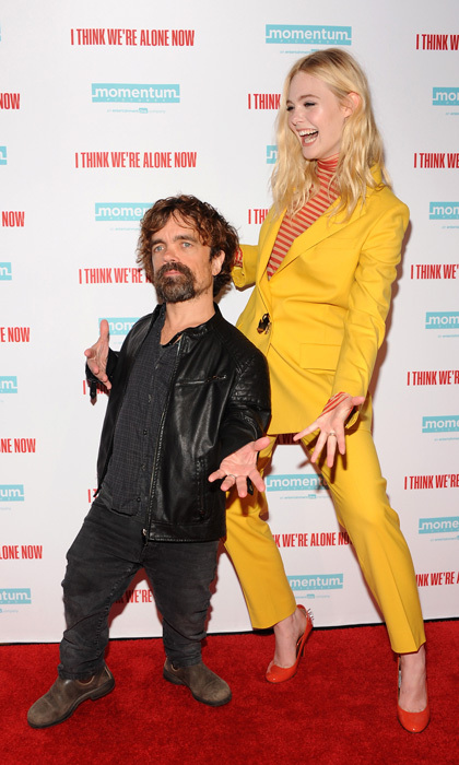 Elle Fanning and Peter Dinklage showed their jazz hands at the premiere of <i>I Think We're Alone Now</i> in NYC. 