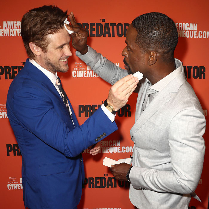 Boyd Holbrook and Sterling K. Brown could count on each other to pat each other's faces on the hot carpet of <i>The Predator</i> in Hollywood.