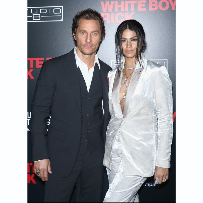 Matthew McConaughey and Camila Alves, whose pantsuit had a metallic sheen, were a dashing duo at the <i>White Boy Rick</i> premiere in NYC.