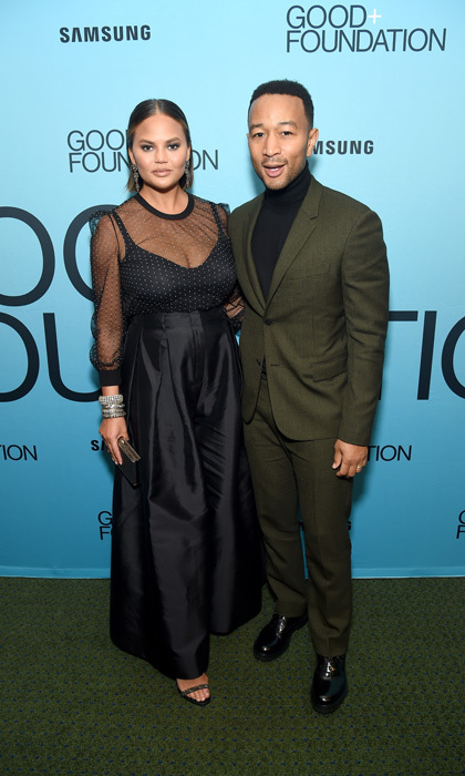 After winning his Emmy in L.A., John Legend and Chrissy Teigen had a good night at the GOOD+ Foundation's An Evening of Comedy + Music Benefit presented by Samsung Electronics America in NYC.