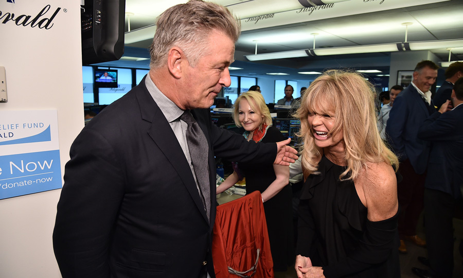 Alec Baldwin had Goldie Hawn in stitches as the two of them made the rounds during the Annual Charity Day hosted by Cantor Fitzgerald, BGC and GFI at Cantor Fitzgerald in remembrance of the 9/11 attacks.