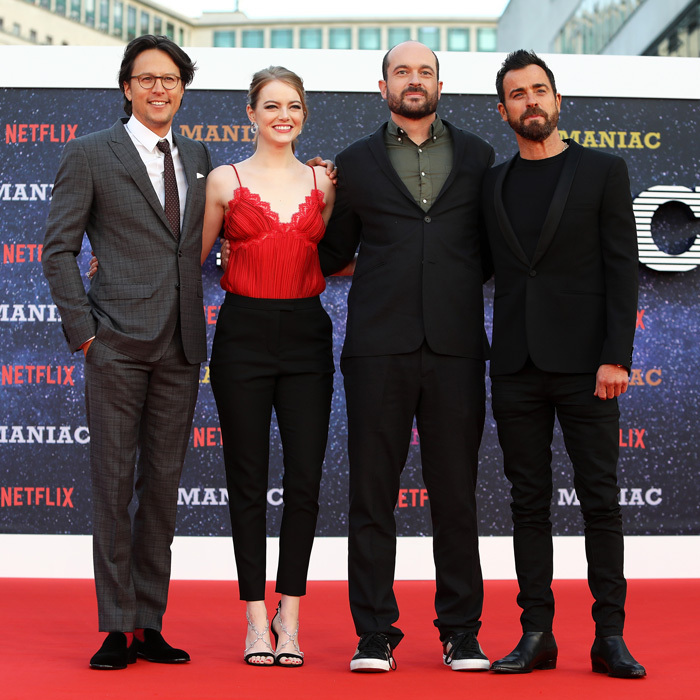 Emma Stone and Justin Theroux made their way to London with Cary Fukunaga and Patrick Somerville for the premiere of their Netflix series <i>Maniac</i>. 