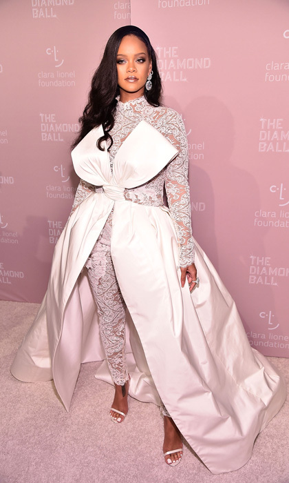 Rihanna's Alexis Mabille Haute Couture jumpsuit was paired with over 100 carats of Chopard diamonds for her Diamond Ball at Cipriani Wall Street in NYC.