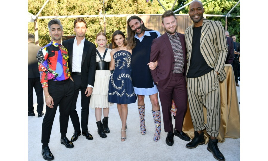 The fab five met the strange two! <i>Queer Eye</i> breakouts Tan France, Antoni Porowski, Jonathan Van Ness, Bobby Berk and Karamo Brown mingled with <i>Stranger Things</i> stars Sadie Sink and Millie Bobby Brown at Ted Sarandos' 2018 Annual Netflix Emmy Nominee Toast on September 15 in L.A. Jonathan was particularly pumped to meet Millie, taking to Instagram to share his excitement. 