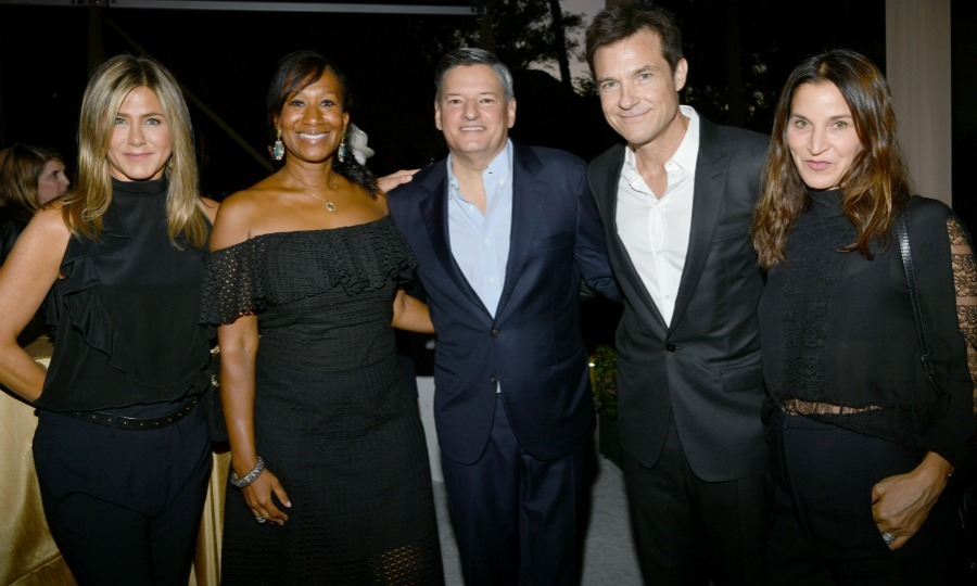 Ladies in black! Everybody's friend Jennifer Aniston joined power couples Netflix Chief Content Officer Ted Sarandos and his wife Nicole Avant, former UN ambassador to the Bahamas, and Jason Bateman and wife Amanda Anka at Ted's toast. The blonde beauty stood out in a sleeveless black top which featured ruffles.