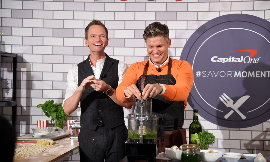 Neil Patrick Harris and David Burtka, who often showcase their time in the kitchen at home with their kids, put on a food demonstration at the Capital One launch for their new Savor card in NYC. 