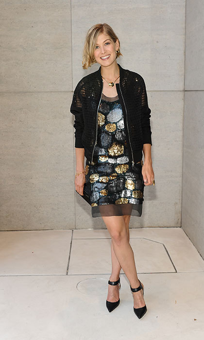 Topping off a colorful sequin dress with a black bomber jacket for the ultimate laid back, chic look at the opening of Vera Wang's store on Rodeo Drive.