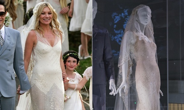 From Kate Moss to Gwen Stefani: Celebrity wedding dresses on display ...